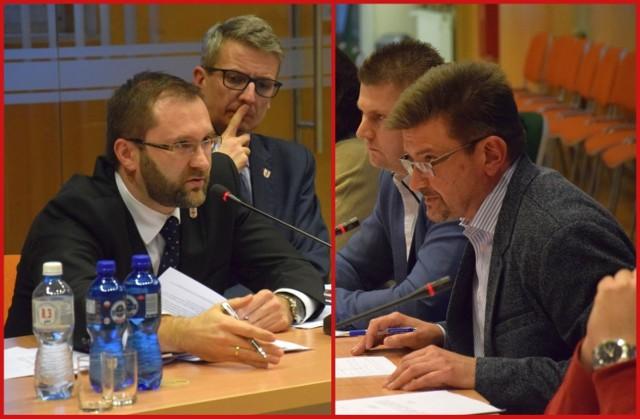 Nowy i stary starosta kluczborski podczas starcia na sesji: z lewej Mirosław Birecki, z prawej Piotr Pośpiech.