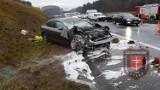 Wypadek na autostradzie A4 między Tarnowem i Brzeskiem. Na wysokości Mokrzysk droga jest zablokowana w obu kierunkach [ZDJĘCIA]