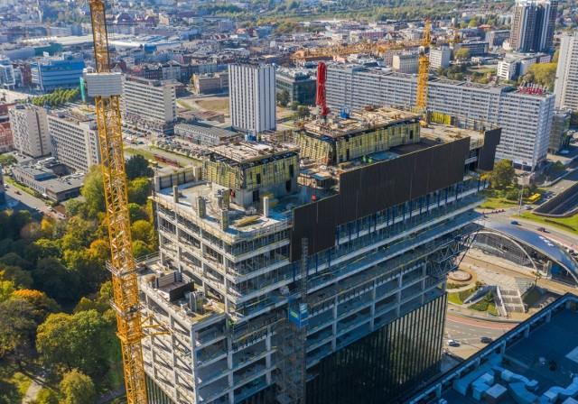 Budowa biurowca .KTW II w Katowicach