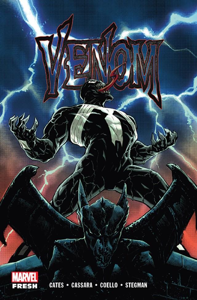 """Marvel Fresh. Venom, tom 1 Scenariusz: Donny Cates Rysunki: Joshua Cassara, Iban Coello, Ryan Stegman Przekład: Zofia Sawicka Oprawa: miękka ze skrzydełkami  Objętość: 280 stron Format: 167x255 Cena: 69,99 ISBN: 978-83-281-6047-7 Język oryginału: angielski Seria: Marvel Fresh Kategoria: komiks amerykański Tematyka: superbohaterowie  Pod Nowym Jorkiem budzi się przedwieczny koszmar, a kosmiczny symbiont, z którym połączył się były reporter Eddie Brock, zaczyna popadać w obłęd. Para nadal jednak przemierza nocne miasto i strzeże niewinnych jako śmiertelnie groźny Venom… przynajmniej do czasu, aż na jej drodze staje monstrum sprzed narodzin światła! Wkrótce też staje się jasne, że aby uratować swojego """"drugiego"""" od szaleństwa, Eddie musi stawić czoło Otchłani, przed którą uciekał całe życie – w przenośni i... dosłownie. Tylko czy jest gotów poznać mroczną prawdę o pochodzeniu symbiontów? Przedstawiamy pierwszy tom głośnej, utrzymanej w klimacie horroru i thrillera psychologicznego opowieści o Venomie autorstwa Donny'ego Catesa, scenarzysty znanego z serii """"Doktor Strange"""" czy """"Thanos"""". Rysunki stworzyli Joshua Cassara (""""X-Force""""), Iban Coello (""""Deadpool & the Mercs for Money"""") oraz Ryan Stegman (""""The Superior Spider-Man"""", """"Wolverine: Trzy miesiące do śmierci""""). Album zawiera zeszyty #1–12 serii """"Venom""""."""