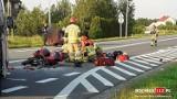 Gorzków. Wypadek z udziałem motocykla, pasażerka zabrana śmigłowcem do szpitala [ZDJĘCIA]