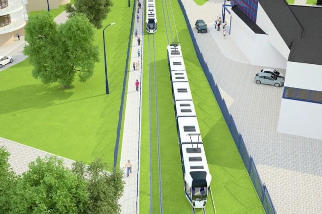 Linia tramwajowa pomiędzy osiedlem Azory a pętlą Cichy Kącik