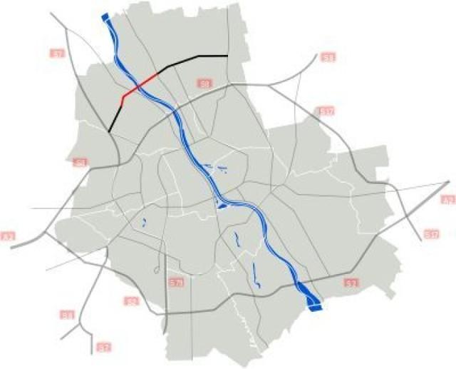 Trasa Mostu Północnego. W kolorze czerwonym odcinek w budowie