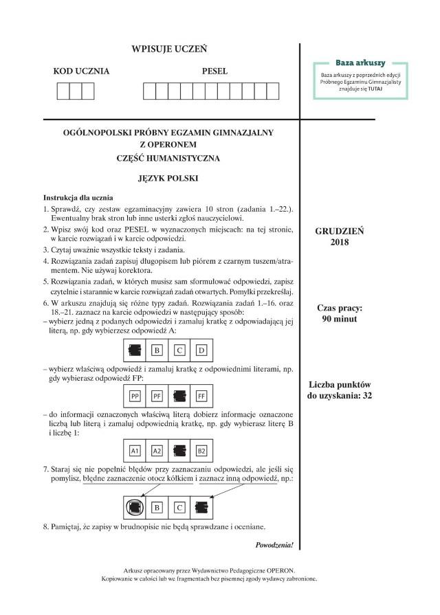 Egzamin gimnazjalny 2019 POLSKI: ODPOWIEDZI i ARKUSZE CKE. Co było na egzaminie gimnazjalnym? 10 04 2019