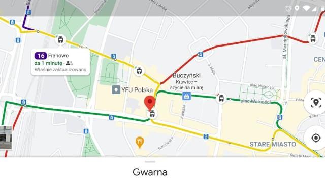 Na mapach Google można już sprawdzać realny czas przejazdu autobusów i tramwajów w Poznaniu.