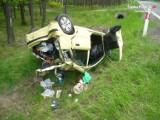 Dachowanie samochodu i jedna osoba ranna w Tworogu