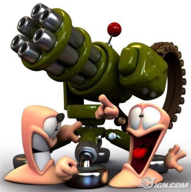 """Materiał promocyjny dla gry """"Worms 4""""."""