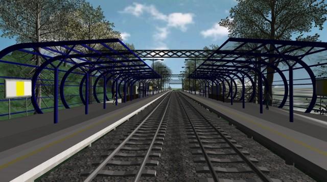 Wizualizacja peronów na stacji Wałbrzych Śródmieście (Centrum)