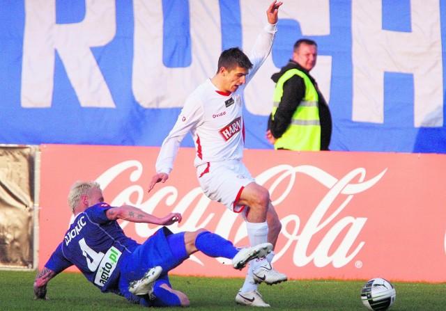 W poprzednim meczu w Chorzowie prowadzenie dla Widzewa zdobył Piotr Grzelczak