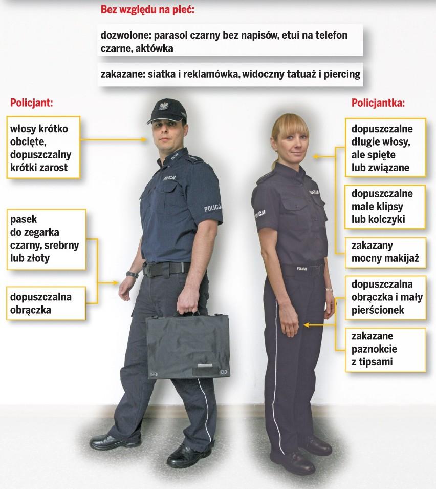 Policjantka Z Niebieskimi Włosami Policjant Z Kolczykiem