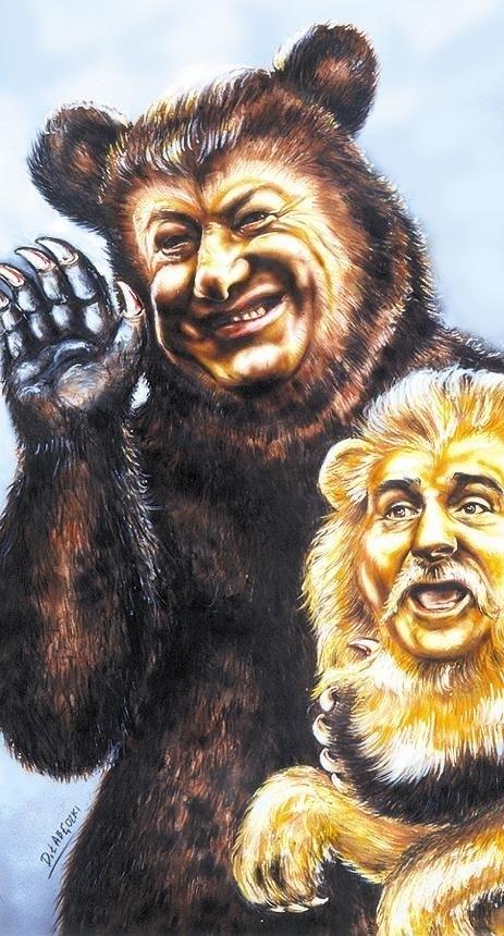Jelcyn i Wałęsa - karykatura.