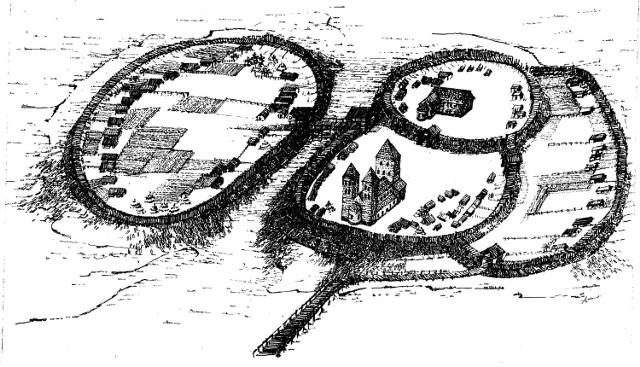 """Rycina Poznania X wiek """"Pierwszy"""" Poznań powstał w centrum historycznej Wielkopolski. Został założony na największej z kilku wysp, zbudowanych z piasków, żwirów i namułów. Gród był systematycznie rozbudowany. W północnej części wyspy została założona warownia. Od wschodu dobudowano do niego kolejny człon grodu, otoczony wałem W tym czasie założono też osadę obronną na Zagórzu, która stanowiła trzeci człon grodu ograniczony wałami przebiegającymi wzdłuż dzisiejszych ulic – Wieżowej i Zagórze. Pod koniec X wieku po raz kolejny powiększono zasięg grodu poprzez dodanie od strony północnej nowego członu. Jego potężne wały o szerokości osiągającej 25 m przebiegały wzdłuż dzisiejszej ulicy ks. Ignacego Posadzego."""