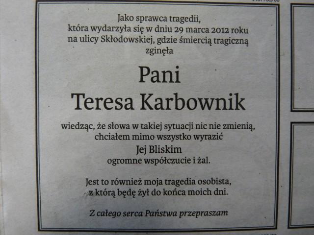 4 kwietnia, na łamach Kuriera Lubelskiego, Paweł P. zamieścił nekrolog, w którym napisał, że to jego tragedia osobista.