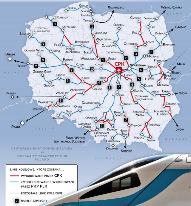 Na mapie zaznaczony jest przebieg planowanych do wybudowania linii kolejowych