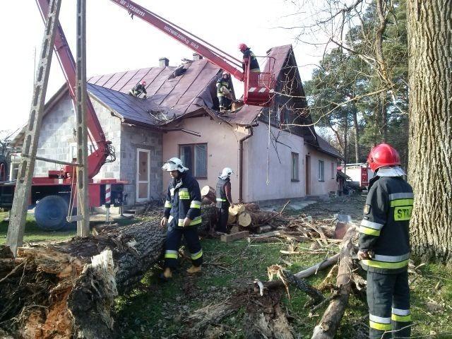 Drzewo zniszczyło budynek mieszkalny w Bliznem