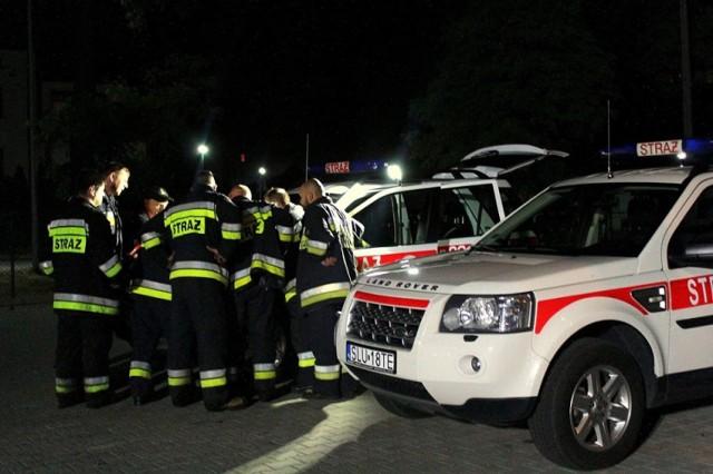 Strażacy podczas działań w związku z pożarem lasu w Herbach i Kalinie 20 - 21.07.2019.