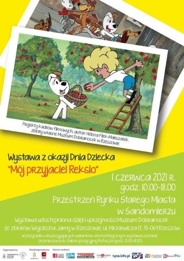 """Jednodniowa wystawa plenerowa z okazji Dnia Dziecka pt. """"Mój przyjaciel Reksio"""" w Sandomierzu. Przyjdź z pociechą 1 czerwca na Rynek."""