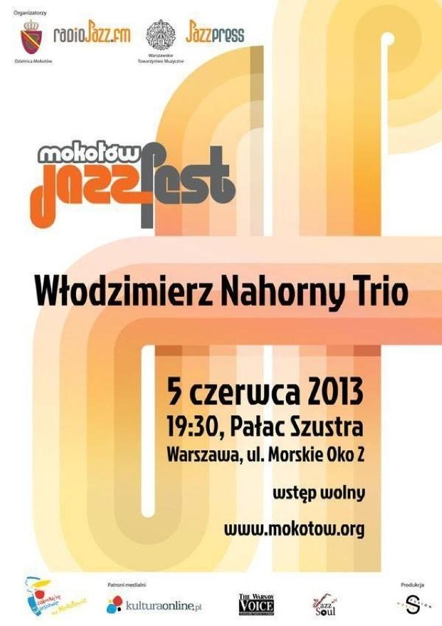 5 czerwca o godz. 19.30 w ramach Mokotów Jazz Fest zagra Włodzimierz Nahorny, Mariusz Bogdanowicz i Piotr Biskupski.