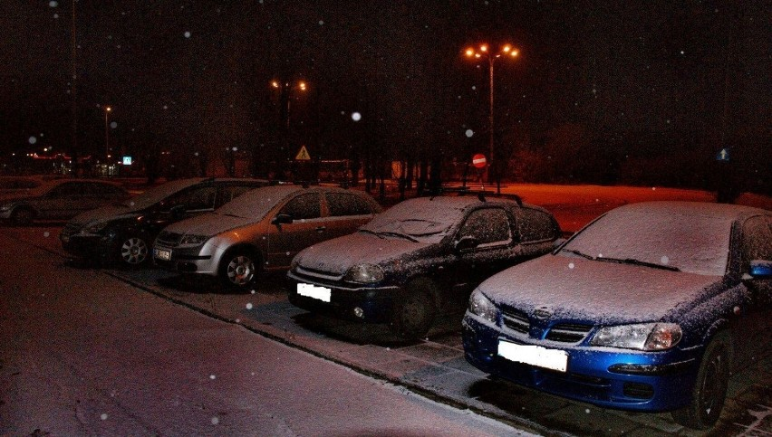 Śnieg na zaparkowanych samochodach. Fot. Mariusz Reczulski