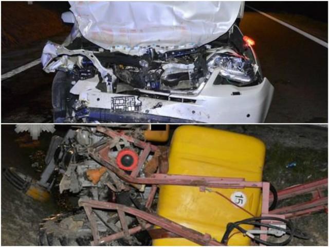 Wypadek w Hucie Turobińskiej. Zderzenie subaru z ciągnikiem