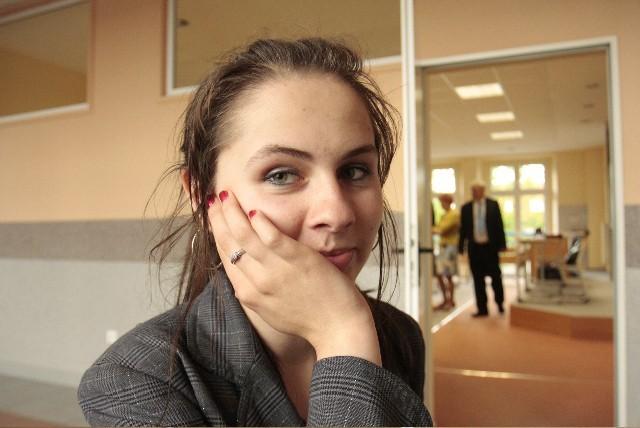 Alicja Szopińska z Akademickiego Liceum Ogólnokształcącego w Chojnicach tuż przed egzaminem