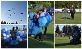 Finał jubileuszu Glinika Gorlice z biało-niebieskimi balonami. Dla publiczności taneczne show