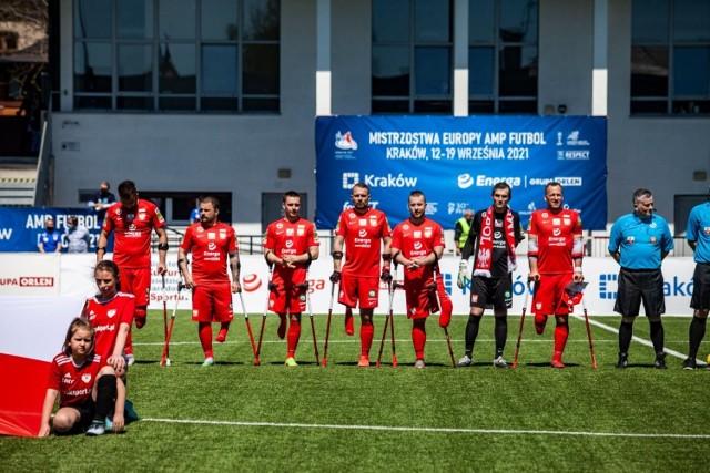 Reprezentanci Polski w amp futbolu podczas majowego meczu z Turcją na stadionie Prądniczanki w Krakowie