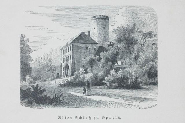 Zamek Piastowski na Pasiece - grafika z 1883 roku autorstwa Theodora Blätterbauera.