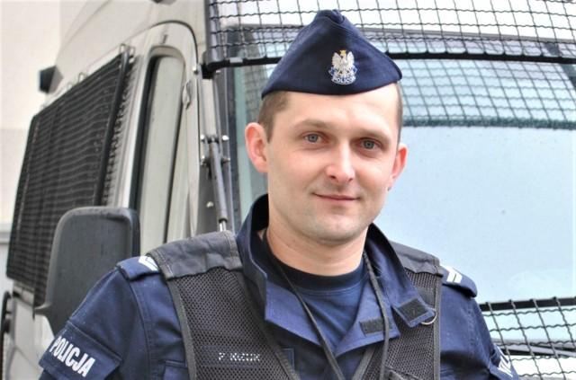 Sierż. szt. Paweł Kiżuk na co dzień pracuje w Samodzielnym Pododdziale Prewencji Policji