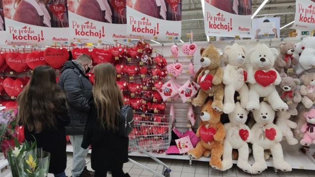 Walentynki w sklepach w Piotrkowie