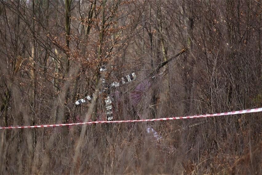 Śmigłowiec Karola Kani rozbił się w lesie. Teren był...