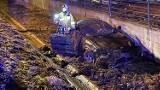 Wypadek na DK 28 w Zamieściu. Auto kompletnie rozbite, dwie osoby ranne
