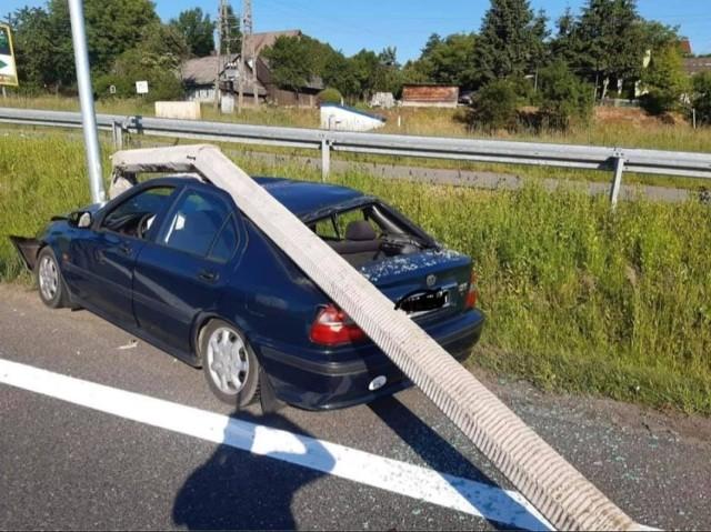 Wypadek w Głogoczowie na zjeździe z zakopianki