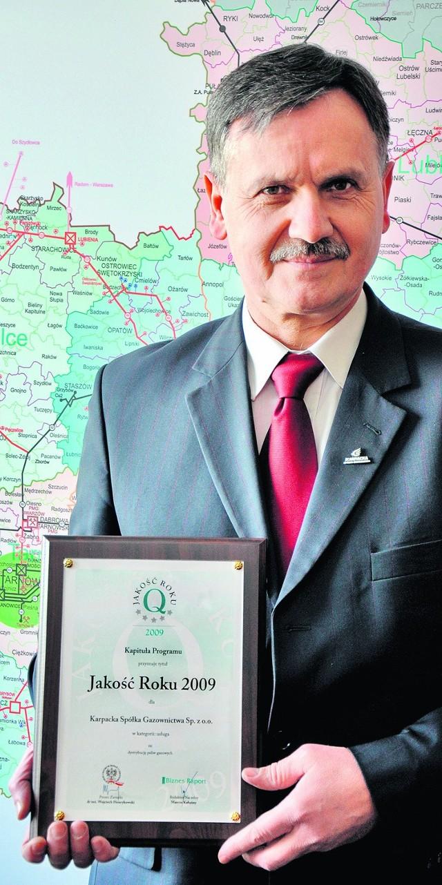 Nagrodę odebrał Bogdan Pastuszko, prezes zarządu