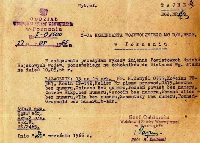 Listę ochotników do udziału w wojnie wietnamskiej przekazano do sprawdzenia Służbie Bezpieczeństwa