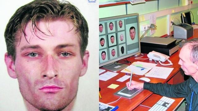 Policyjny grafik Grzegorz Małowiejski w czasie pracy. Obok portret poszukiwanego za napad na bank w Lęborku