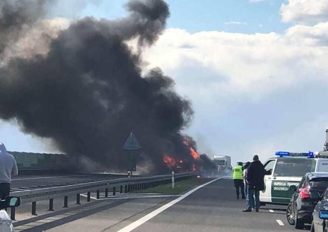 Do zdarzenia doszło w poniedziałek, 13 maja, na wysokości Deszczna na pasach w kierunku Skwierzyny. Ciężarówka zderzyła się z pojazdem technicznym obsługi drogi S3. Samochód stanął w płomieniach. Dwie osoby zostały ranne.  O pożarze poinformowali nas Czytelnicy. Ciężarówka zapaliła się zaraz po zderzeniu z pojazdem obsługi drogi ekspresowej na wysokości Deszczna, na odcinku Skwierzyna - Gorzów. Dwie osoby zostały ranne.   Droga S3 została zablokowana w obu kierunkach. Na miejsce przybyły służby ratunkowe oraz policja. Utrudnienia w ruchu potrwają do późnych godzin nocnych.  Zobacz też: 300 PLUS. Program dobry start. ZASADY