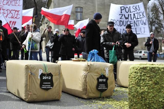 Protestujący przywieźli ze sobą do Brzeska swój chmiel