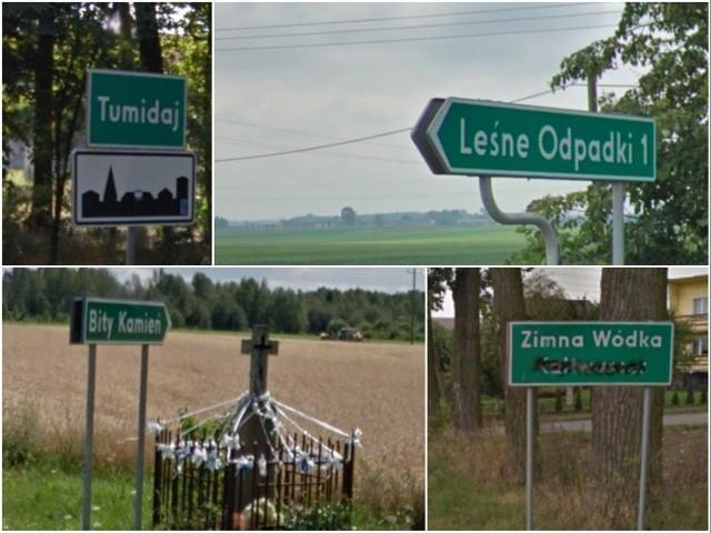 Jadąc samochodem przez Polskę można się często... uśmiechnąć. Polskie wsie, kolonie i przysiółki mają często bardzo dziwne nazwy. W niektóre, zwłaszcza te wulgarne, aż ciężko uwierzyć. Wybraliśmy te najśmieszniejsze, podajemy także ich lokalizację. Te miejsca  istnieją naprawdę!   Zobacz pozostałe miejscowości z niesamowitymi nazwami! Przesuwaj palcem lub wciśnij strzałkę.