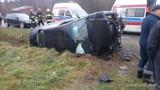 Pięcioosobowa rodzina w szpitalu po wypadku we wsi Trzycierz