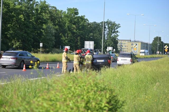 Wypadek na trasie średnicowej w Grudziądzu, w pobliżu Ronda Lotników