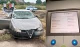 Zatrzymanie w Żabicach. Kierowca alfy romeo był pod wpływem narkotyków i jechał autem z rozbitą szybą