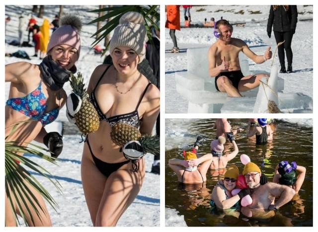 Bydgoskie morsy zażywały lodowatych kąpieli w Jeziorze Jezuickim w Pieckach