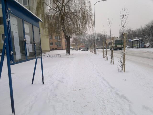 Śnieg na ul. Reja na chodniku