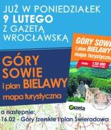Mapa turystyczna Gór Sowich i plan Bielawy w poniedziałek 9.02 z Gazetą Wrocławską