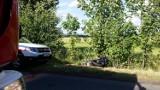 Wypadek w Woźnikach. Samochód uderzył w motocykl