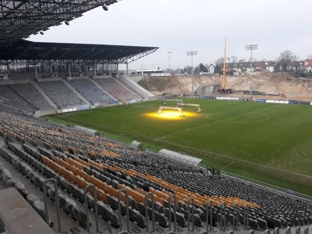 Stadion Pogoni Szczecin - stan prac 23 stycznia 2021.