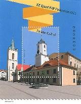 Polkowicki ratusz i kościół na znaczku