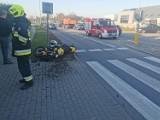 Wypadek w Leźnie! 8.10.2021 r. Zderzenie motocykla i samochodu osobowego. Motocyklista trafił do szpitala
