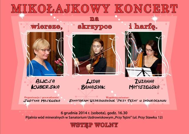 Mikołajkowy koncert na wiersze, skrzypce i harfę.